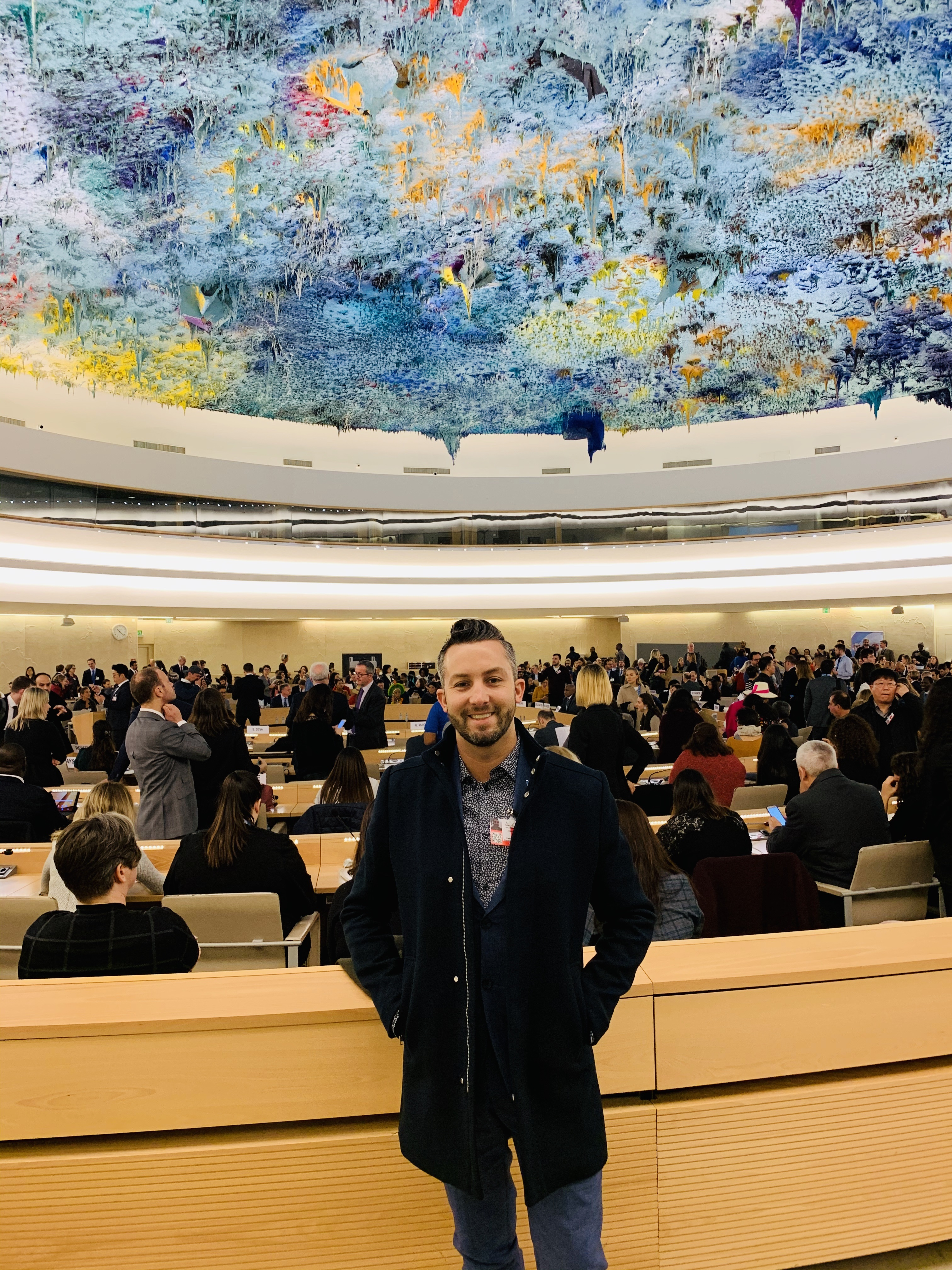Bradford Conroy at the UN Human Rights Council in Geneva, Switzerland.